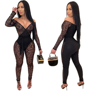 Sexy Perspective Mesh Jumpsuits Women Skinny Bandage Rompers Off Shoulder Patchwork Overalls Night Club Outfits Female