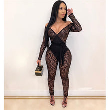 Load image into Gallery viewer, Sexy Perspective Mesh Jumpsuits Women Skinny Bandage Rompers Off Shoulder Patchwork Overalls Night Club Outfits Female