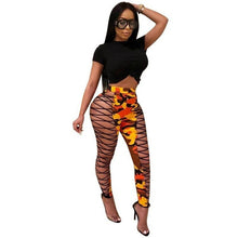 Load image into Gallery viewer, New Sexy Hollow Out Bandage Camouflage Pant Women Bodycon Club Party Lace Up Pants Pencil High Waist Pants Female