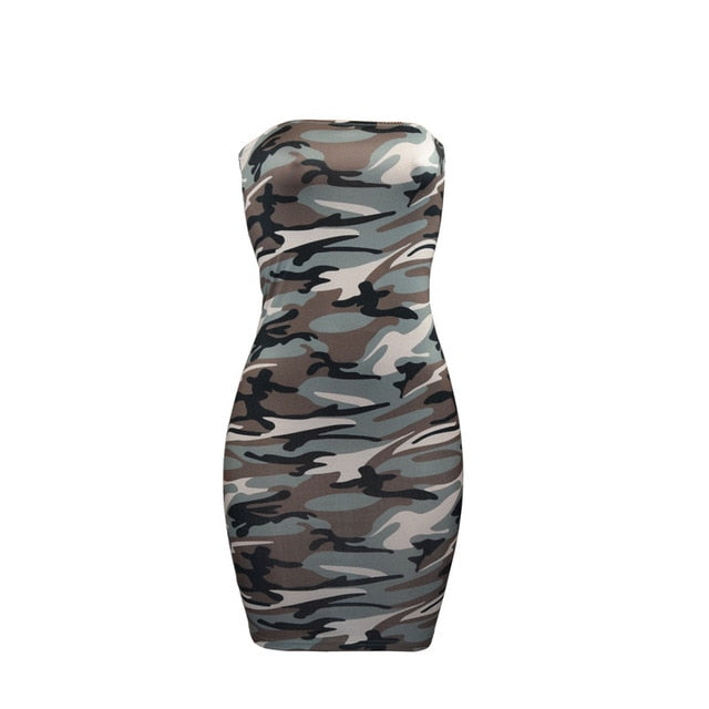 New Women Sexy Plus Size Camo Dresses Evening Party Pencil Club Mini Dress Ladies Wrap Chest Camouflage Dresses