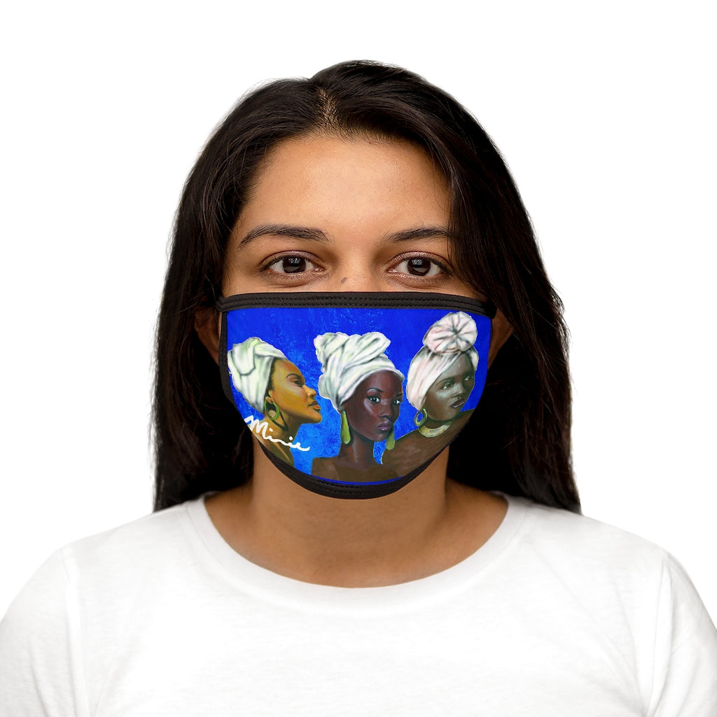 Blue and White Sisterhood Mixed-Fabric Face Mask