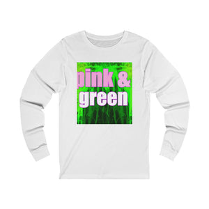 Pink and Green Unisex Jersey Long Sleeve Tee