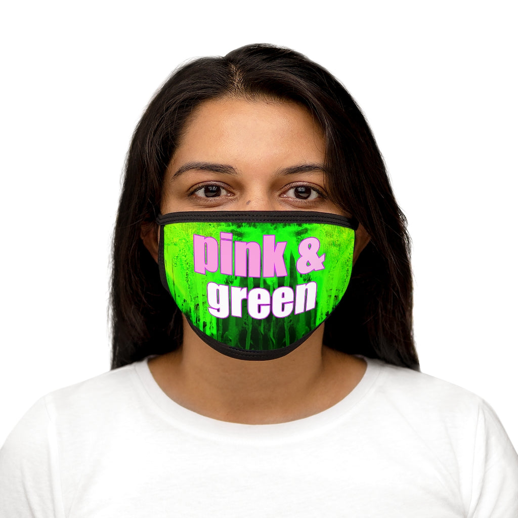 Pink and Green Abstract Face Mask