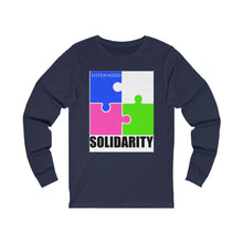 Load image into Gallery viewer, Blue and White Sisterhood Solidarity  Unisex Jersey Long Sleeve Tee