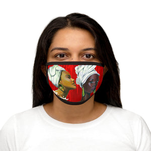 Red and White Sisterhood  Mixed-Fabric Face Mask