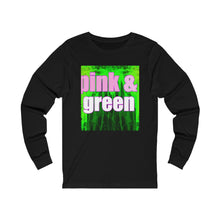 Load image into Gallery viewer, Pink and Green Unisex Jersey Long Sleeve Tee