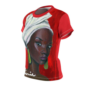 Red and White Women's AOP Cut & Sew Tee