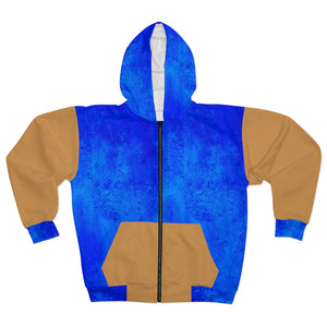 Blue and Gold AOP Unisex Zip Hoodie