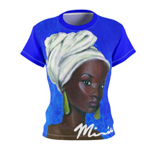 Load image into Gallery viewer, Blue and White Women's AOP Cut & Sew Tee