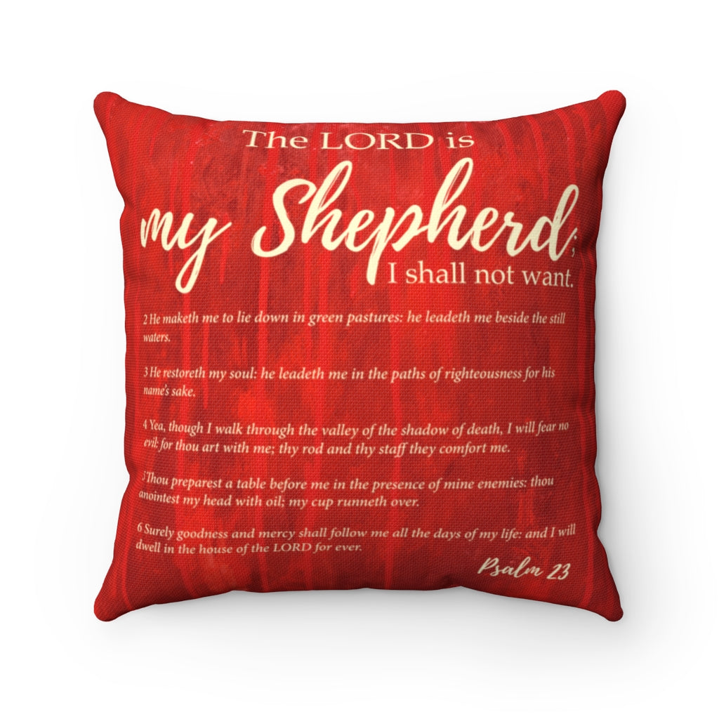 Psalm 23  Red Square Pillow