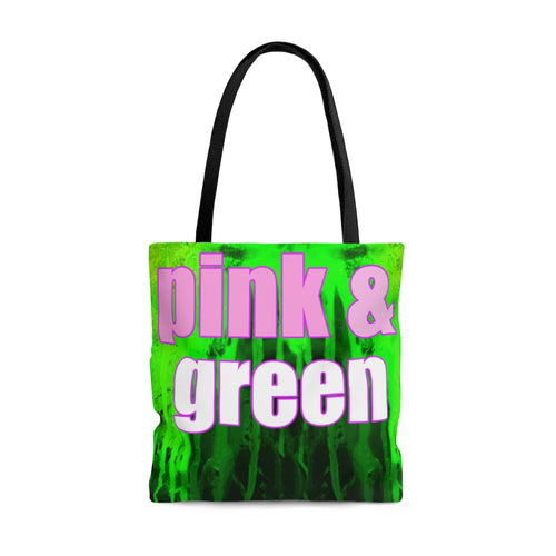 aka tote bag, pink and green tote bag, sorority  tote bag