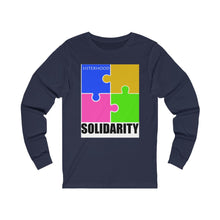Load image into Gallery viewer, Blue and Gold SisterhoodSolidarity  Unisex Jersey Long Sleeve Tee