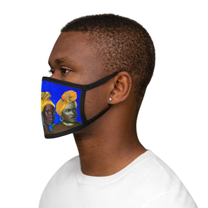 Blue and Gold Sisterhood  Mixed-Fabric Face Mask