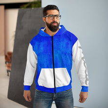 Load image into Gallery viewer, Blue and White AOP Unisex Zip Hoodie