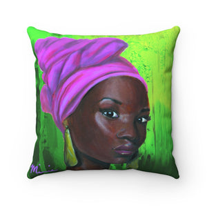Pink and Green 2 - Square Pillow