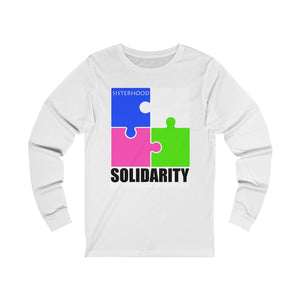 Blue and White Sisterhood Solidarity  Unisex Jersey Long Sleeve Tee