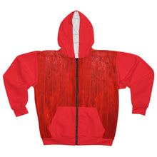 Load image into Gallery viewer, Red and White AOP Unisex Zip Hoodie