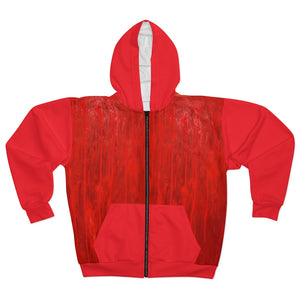 Red and White AOP Unisex Zip Hoodie