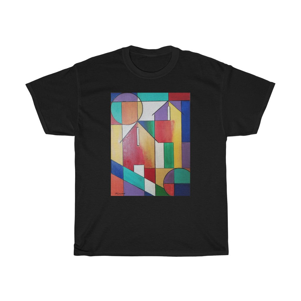 black tshirt,  abstract tshirt, colorful  abstract house