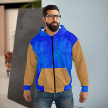 Load image into Gallery viewer, Blue and Gold AOP Unisex Zip Hoodie