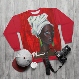 Red and White AOP Unisex Sweatshirt