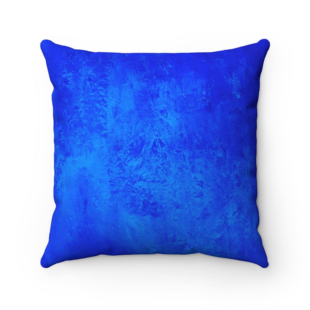 Blue Texture Spun Polyester Square Pillow