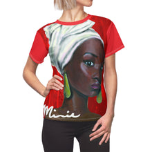Load image into Gallery viewer, Red and White Women's AOP Cut & Sew Tee