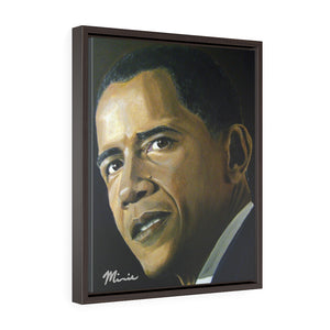 Obama Mr. Presiden Vertical Framed Premium Gallery Wrap Canvas