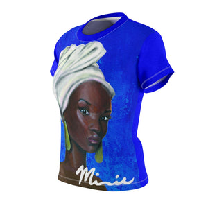 Blue and White Women's AOP Cut & Sew Tee