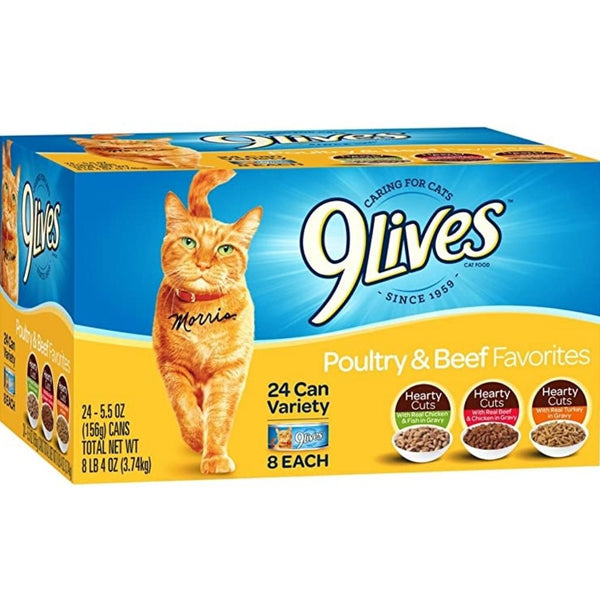 9 LIVES CAT FD 24/5.5OZ VARIETY
