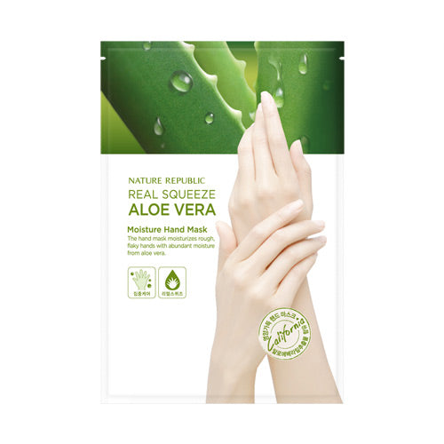 [Nature Republic] Real Squeeze Aloevera Moisture Hand Mask 1 ea