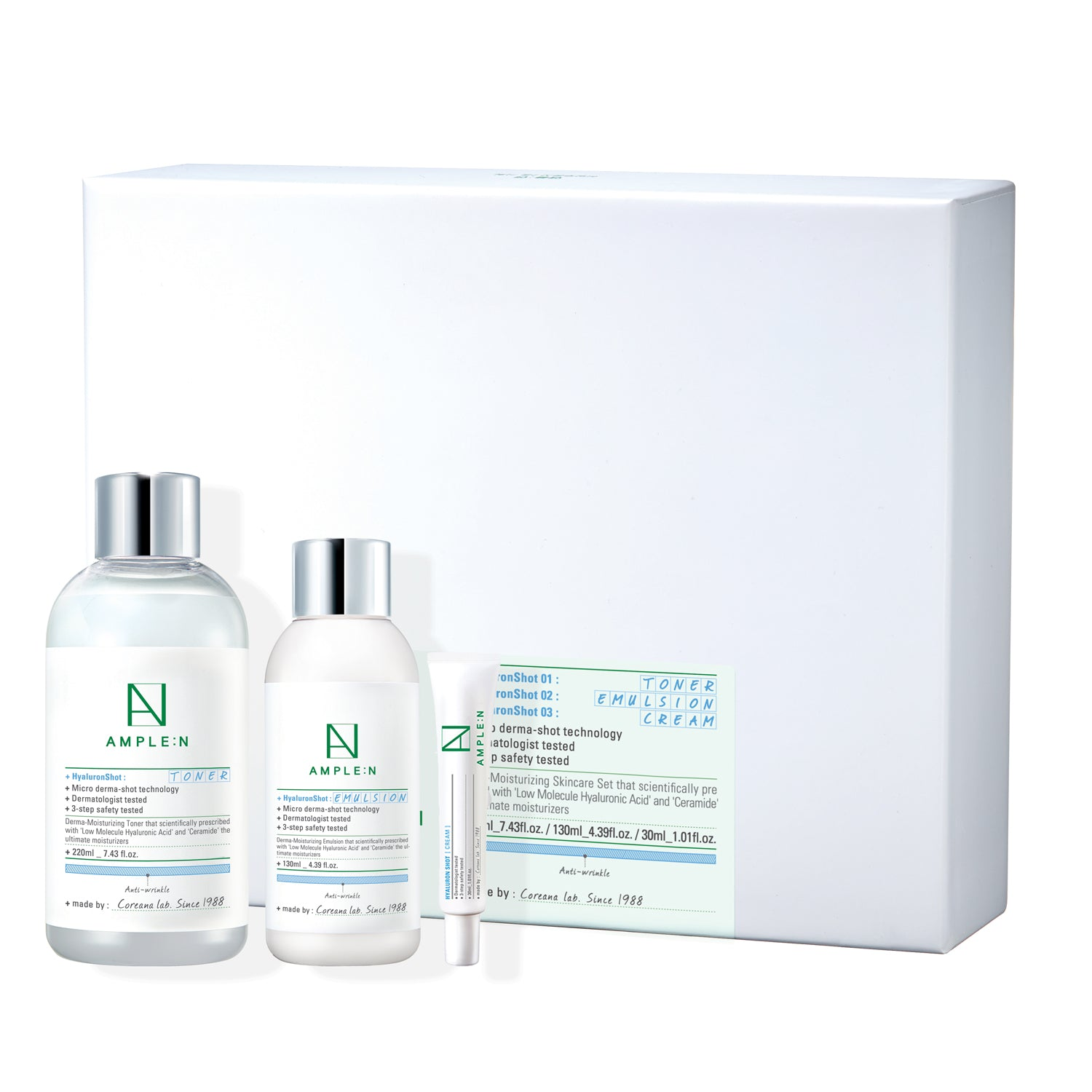 [AMPLE N] HyaluronShot Set (Toner 220ml + Emulsion 130ml + Cream 30ml)
