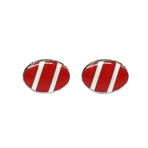 Bond Style TYLER and TYLER Capsule Bold Cufflinks Regiment Red and White