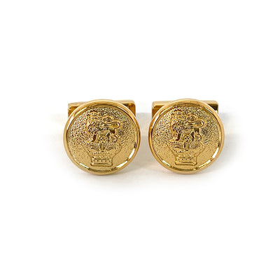 TYLER & TYLER Capsule Cufflinks Lion and Crown Bright Gold Finish Front