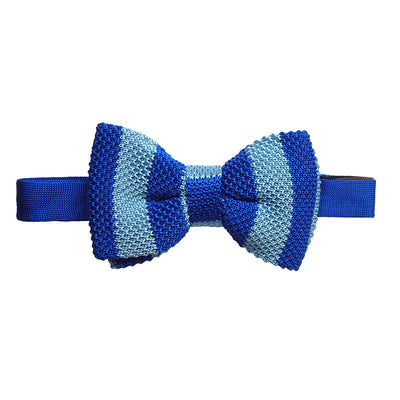 TYLER & TYLER Knitted Silk Bow Tie Single Stripe Blue and Light Blue