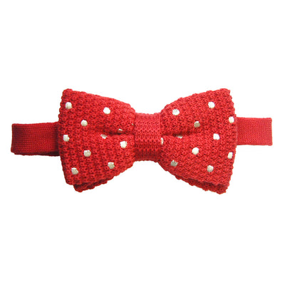 TYLER & TYLER Knitted Wool Bow Tie Spotty Red with White Spot