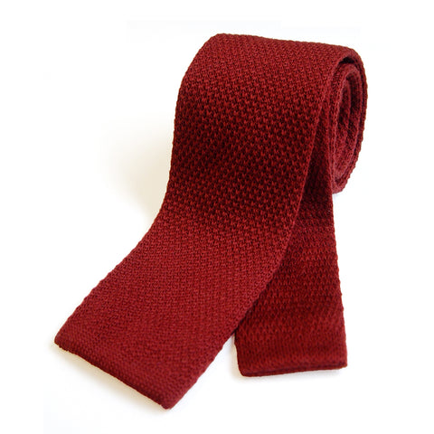 Bond Style TYLER and TYLER Knitted Wool Tie Maroon