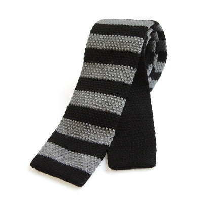 TYLER & TYLER Knitted Wool Tie Stripe Black and Grey