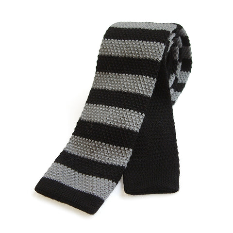 Bond Style TYLER and TYLER Knitted Wool Tie Black and Grey Stripe