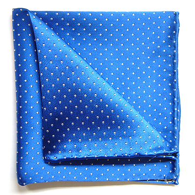TYLER & TYLER Luxury Woven Silk Pocket Square Blue with White Spot