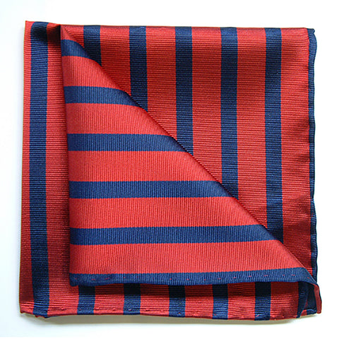 Bond Style TYLER and TYLER Luxury Woven Silk Pocket Square Red and Navy Stripe