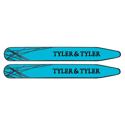 TYLER & TYLER Metal Collar Stays Diffusion Black Metal Finish Bright Blue Enamel