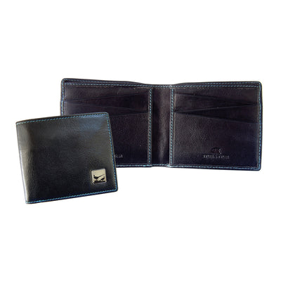 TYLER & TYLER Real Black Leather Billfold Wallet Pheasant