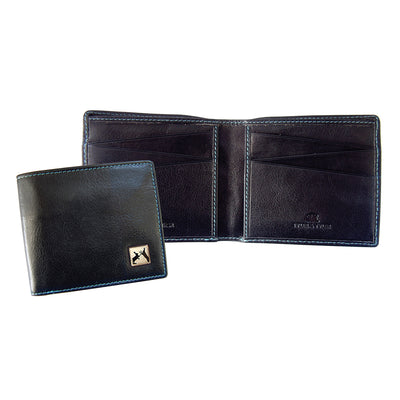 TYLER & TYLER Real Black Leather Billfold Wallet Sparring Hares