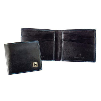 TYLER & TYLER Real Black Leather Billfold Wallet Tennis