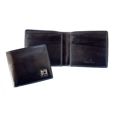 TYLER & TYLER Real Black Leather Billfold Wallet Union Jack