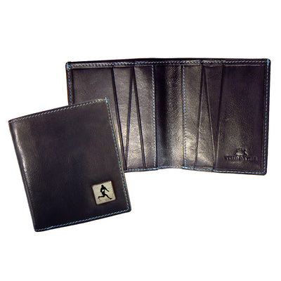 TYLER & TYLER Real Black Leather Jeans Wallet Rugby
