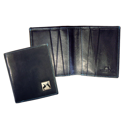 TYLER & TYLER Real Black Leather Jeans Wallet Sparring Hares
