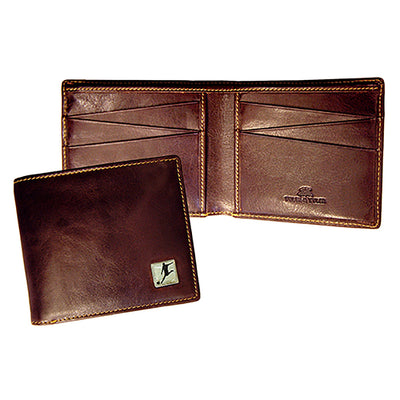 TYLER & TYLER Real Brown Leather Billfold Wallet Football