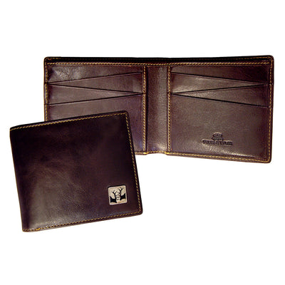 TYLER & TYLER Real Brown Leather Billfold Wallet Rutting Stags